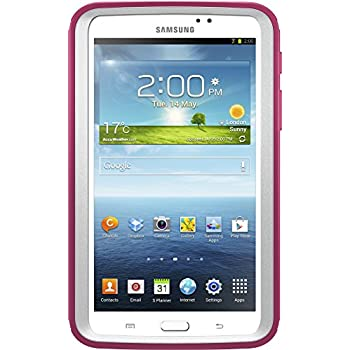 """OtterBox DEFENDER SERIES Case for Samsung Galaxy Tab 3 7.0"""" (ONLY) - Retail Packaging - PAPAYA (WHITE/PEONY PINK)"""