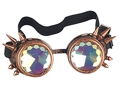 Cyber Goth - Kaleidoscope Rave Rainbow Crystal Lenses Steampunk Goggles Spike Halloween