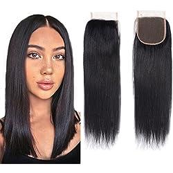 Unprocessed Brazillian Straight Closure size 4x4 100% Human Hair Closure Li Queen Top Lace Closure 14 inch Free Part 1B# Color