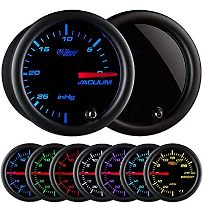 """GlowShift Tinted 7 Color Vacuum Gauge Kit - Includes Mechanical Hose & T-Fitting - Black Dial - Smoked Lens - 2-1/16"""" 52mm: Automotive"""