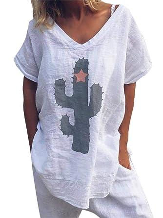 Courte Tomwell Shirt Empreinte T Tee Casual Cactus Blouse De Haut En Tunique Femme Manches Tops Ete 5cALS43qRj