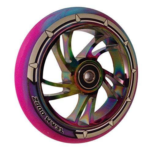 Team Dogz 110mm Swirl Scooter Wheel - Rainbow Core with Blue/Purple (Team Tire)