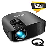 Projector, GooDee Video Projector 3600L Outdoor Movie Projector, 200' Home Theater Projector Support 1080P, Compatible with Fire TV Stick, PS4, HDMI, VGA, AV and USB