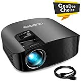 "Projector, GooDee HD Video Projector 3800L Outdoor Movie Projector, 200"" Home Theater Projector Support 1080P, Compatible with Fire TV Stick, PS4, HDMI, VGA, AV and USB"
