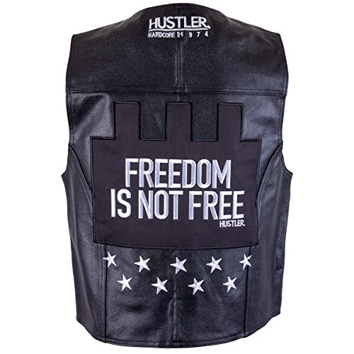 Officially Licensed Hustler Mens Freedom is Not Free Classic Leather Vest - (Hustler Leather)