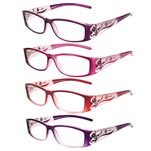 LianSan Readers 4 Pairs Ladies' Readers Color Frame Quality Reading Glasses for Women - Pink Glasses Lady