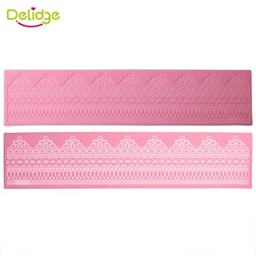1 piece Delidge 1pc Lace Pattern Silicone Cake Mold 3D Fondant Cake Decorating Tools DIY Cake Side Decorating Stencils ()