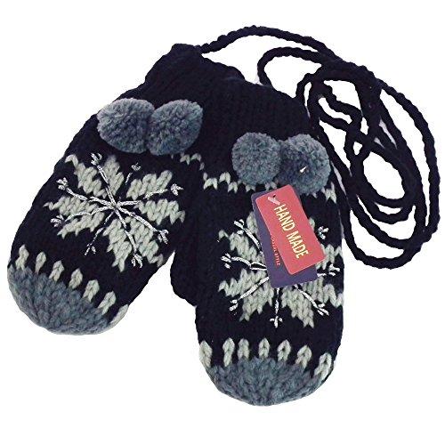 保証凍るレンチハッピーハット ニット手袋 ミトン 手編みノルディック柄 ラメ糸MIX ブラック&グレー t-046