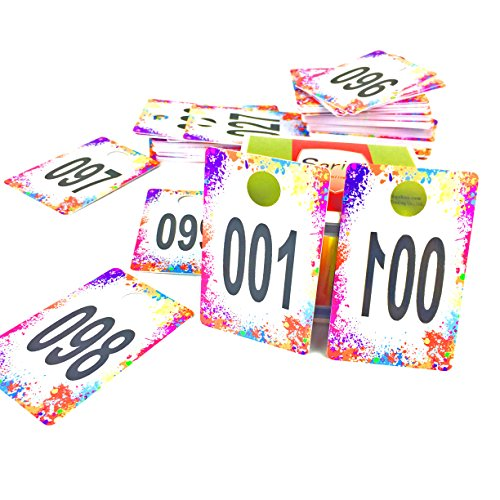 Larger 86mmx55mm Credit Card Size Plasitc Live Sale Number Tags Normal and Reverse Mirror Image Numbers Cards,Coat Hanger Numbers Cards for Facebook and Lularoe Live Sale Artistic Style(001-100)