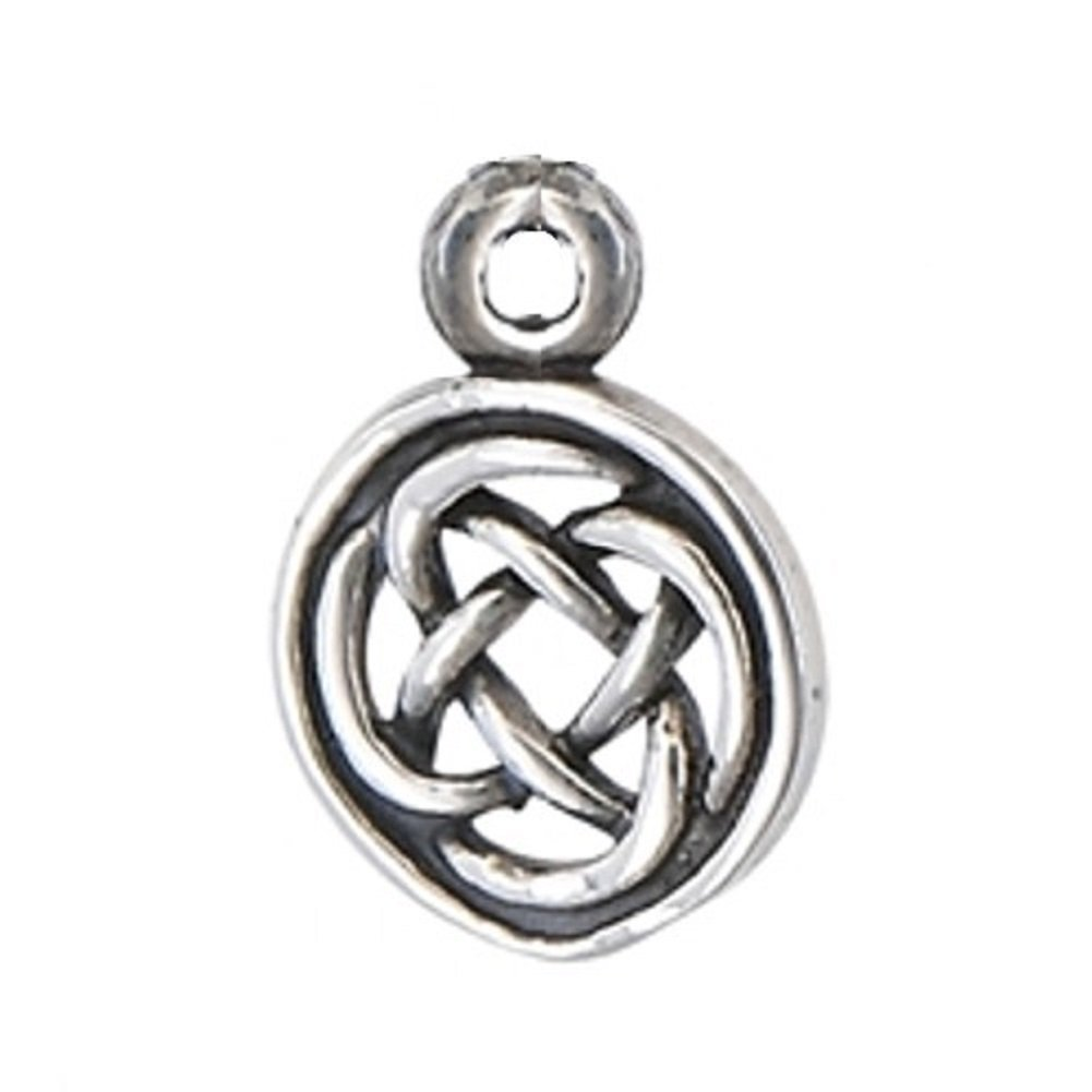 Sterling Silver 7 4.5mm Charm Bracelet With Attached Mini Celtic Weave Charm