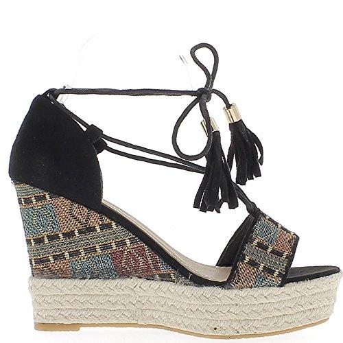 Sandales espadrilles compensées noires à talon de 10,5 cm avec lacets et plateforme