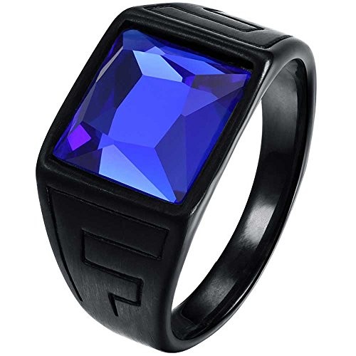 Lwlh Men Vintage Square Cz Crystal Stone Titanium Steel Ring Band Gothic Biker Knight Sapphire Blue Black Szie 9