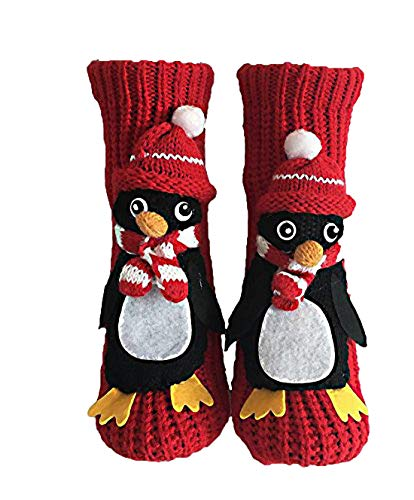 PreSox Non-slip Knit Sweater Warm Household Floor Socks for Women Red Penguin, One Size -