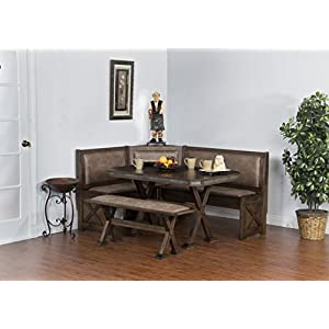 Sunny Designs 0222AC Savannah Breakfast Nook Set w/ Side Bench