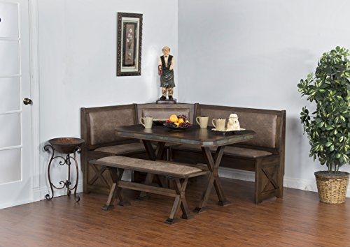 Sunny Designs 0222AC Savannah Breakfast Nook Set w/ Side Bench (Breakfast With Bench Nook)