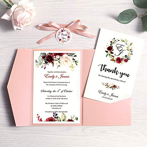 Doris Home 50pcs 4.7 x7.1inch Tri-fold wedding invitations for Bridal Shower, Dinner, Beach theme, Party with Ribbon and Tags, DH0001 (Pink, 50pcs Blank) (Best Printer For Diy Wedding Invitations)