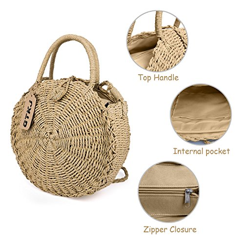 Bali Handbag Tote Summer Hand for Rattan Beach Womens Bag Woven QTKJ Straw Round Crossbody Pa0qw0p1