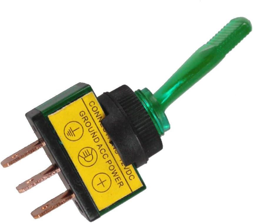 E Support 5 X Kfz Auto Kippschalter Schalter Wippschalter 12v Grün Led Licht Beleuchtet 3 Polig Spst Ein Aus Auto