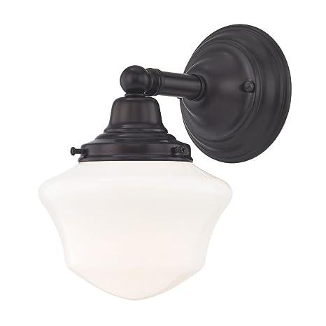 Schoolhouse Sconce Bronze White Opal Glass 1 Light 6 Inch Width