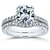 Forever One Moissanite and Lab Grown Diamond Bridal Rings Set 2 1/3 CTW 14k White Gold (DEF/VS)