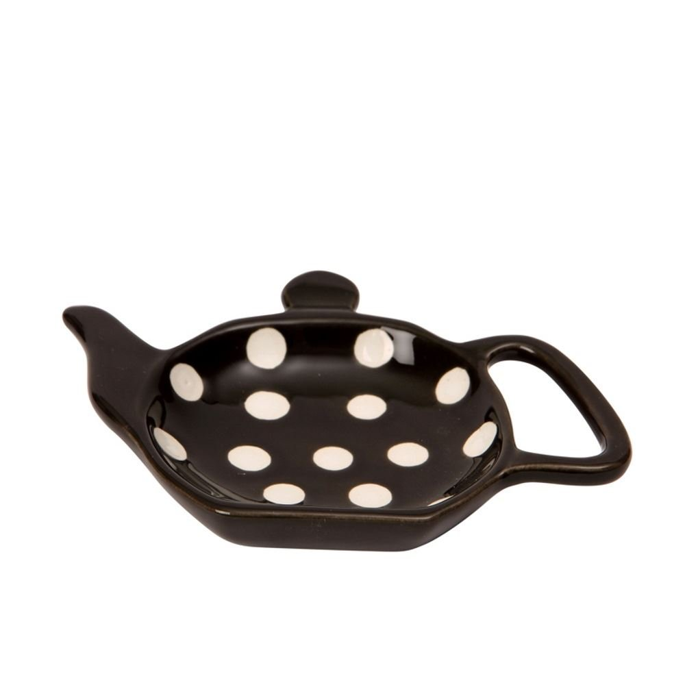 Dexam Retro / Vintage Style Ceramic Teapot Shaped Black & White Polka Dot Teabag Holder / Tidy