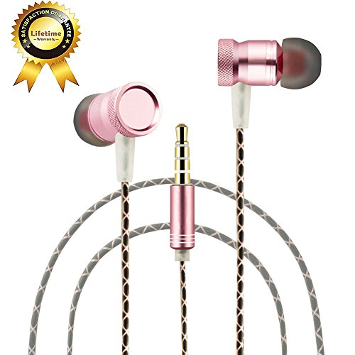 Ectreme Wired Metal In Ear Headphones, Noise Isolating Stereo Bass Earphones With Mic (Pink)
