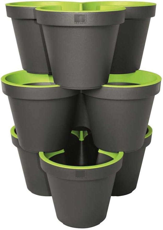 Anthracite//Vert Mai 81 geli Thermo Plastic 3er Set E /& K Pot de Fleur Pot de Colonne Empilable en Plastique