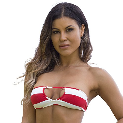 Wicked Weasel Sailor Stripe Bandeau Bikini Top 351  Medium  Red