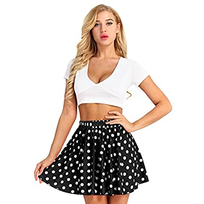 MSemis Fashion Women Polka Dot Flared Casual Mini Skirt Stretchy Mid Waist Swing Pleated Skirt