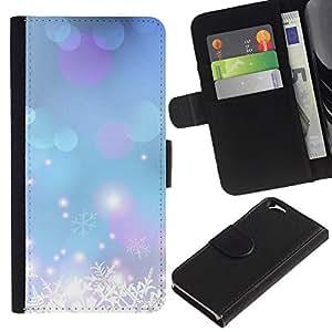 A-type (Winter Snow Snowflake Blue Xmas) Colorida Impresión Funda Cuero Monedero Caja Bolsa Cubierta Caja Piel Card Slots Para Apple (4.7 inches!!!) iPhone 6 / 6S