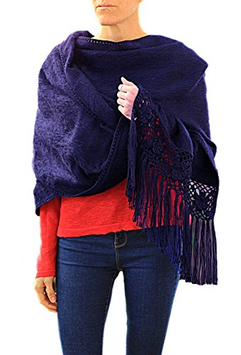 TINKUY PERU - Peruvian Alpaca Wool - Women's Crochet Hand - Knitted Flowers Pashmina Shawl Wrap (Coastal)