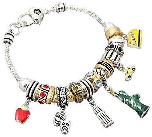 O3 New York City Theme Charm Bracelet 7.5 Inch
