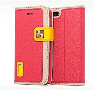 Yastar Ice Slik Series PU Leather Bracket Function Case Flip Cover for iphone 5 5S Apple 5 Color Red
