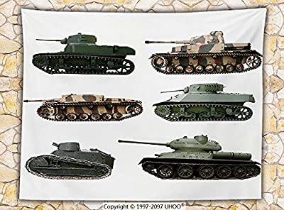 War Home Decor Fleece Throw Blanket Second World War Armoured Tanks Camouflage Military Power Artillery Weapon Throw Green White