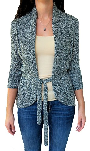 A. Buyer Junior Womens' Belted Cardigan Sweater (X-Small, (Belted Ribbed Sweater)