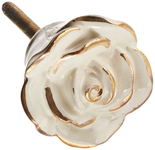 Darice 289654 Heritage Hardware Ceramic Knob, Painted Rose