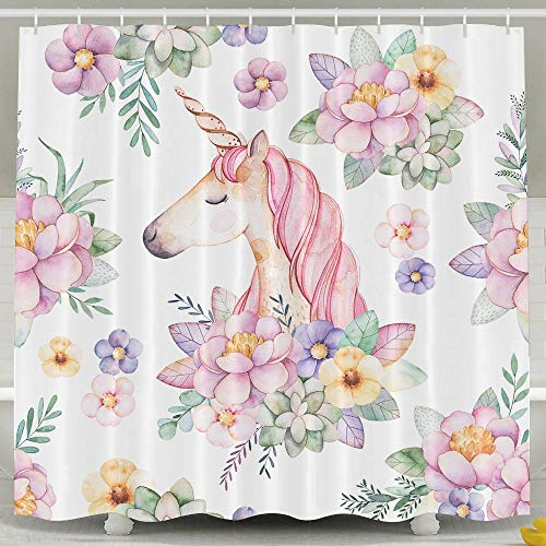 (Waterproof Shower Curtain Floral Unicorn Portrait Shower Curtain 100% Polyester Fabric 47