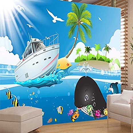 Custom Wall Painting Wallpaper Cartoon Blue Sky Sea Fish
