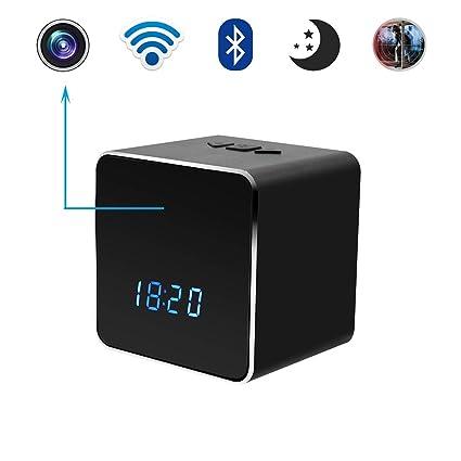Cámara Oculta Espía Reloj Reloj Bluetooth Altavoz, Bysameyee Mini Seguridad inalámbrica WiFi Niñera con visión