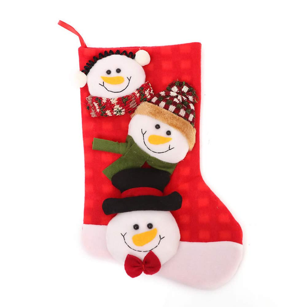 nanzhushangmao 3D Style Christmas Stockings Decorations, Cute Santa Deer Snowman Candy Socks Gifts Bag Hanging Decorations (B)