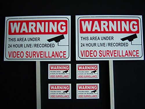 2 Video Surveillance Signs + 4 Decals - 2 Stakes .#PS-419 from Great American Signs