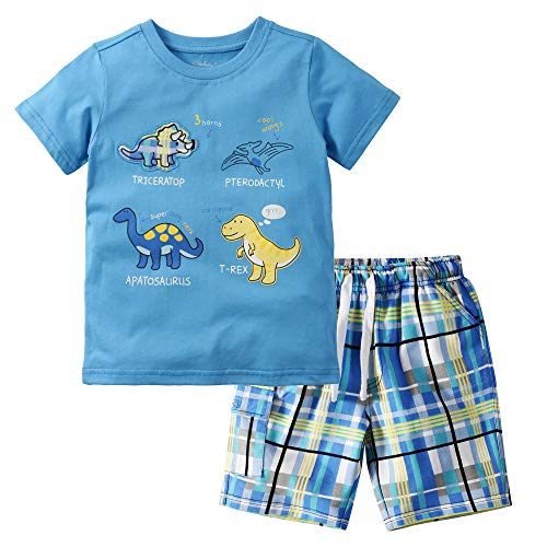 Gorboig Baby Boys Summer Outfits Sleeveless Top Shirt + Shorts Clothes Set(Multi pattern-4T) (Clothes 4t Boys)