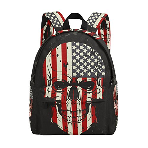 e0acbcb2ea79 MAPOLO Skull Color Of The American Flag Lightweight Travel School Backpack  for Women Girls Teens Kids