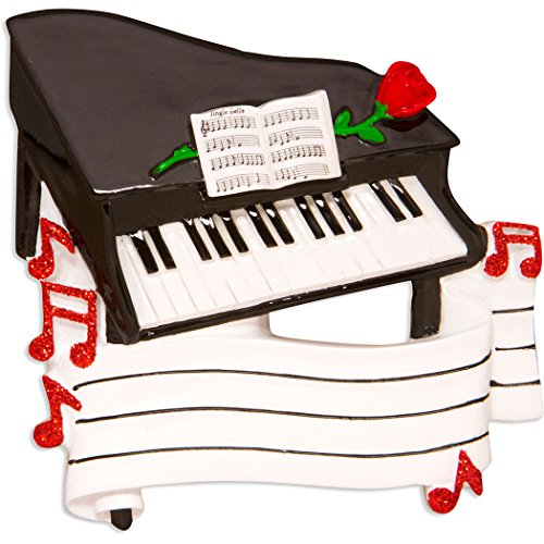 Personalized Piano Christmas Tree Ornament 2019 - Black Keyboard Instrument Keys Red Rose Notes Treble Clef Pianist Performs Recital Orchestra Hobby Profession Gift Year - Free Customization ()