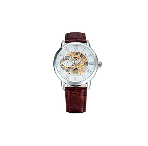 Men´s Luxury Quality Skeleton Mechanical Watches With Leather Strap Fashion Bracelet Mechanical Cheap Watch