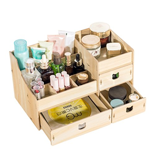 Wood Cosmetic Organizer Assembly Wooden Pink Makeup Organizer Drawers Factory Jewelry Box Blue by Cosmetic rack (Image #2)
