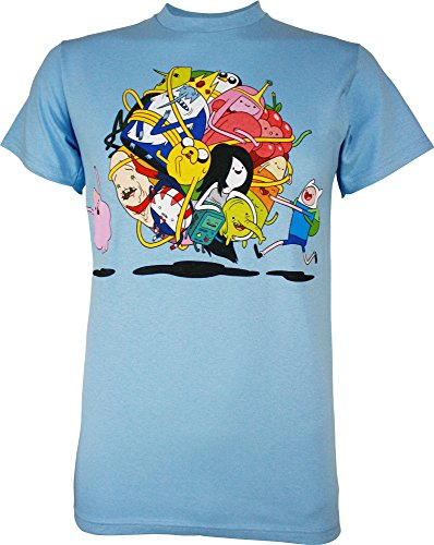 Adventure Time Group Roll Men's T-Shirt, Light Blue, Medium