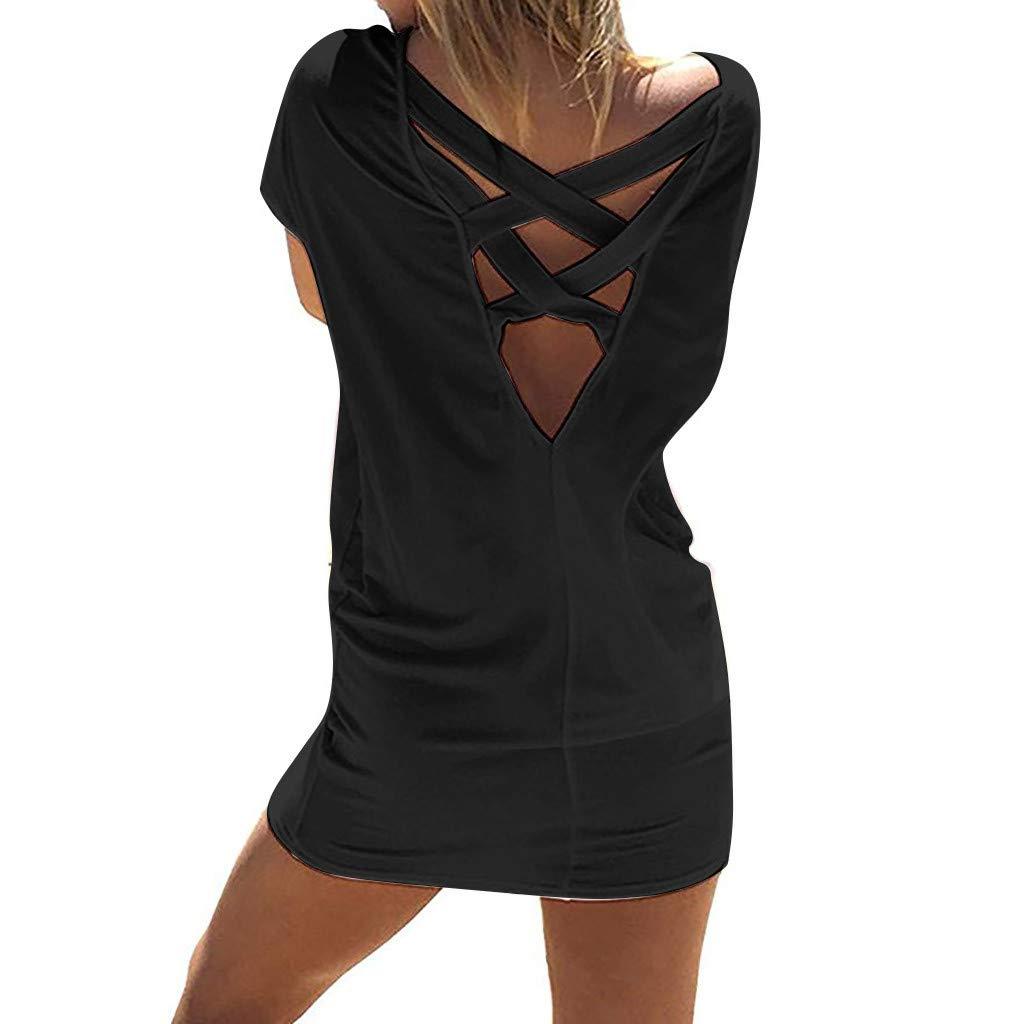 Ulanda Beach Cover Up Dress for Women Juniors Casual Criss Cross Short Sleeve Beach Tunic T Shirt Dress