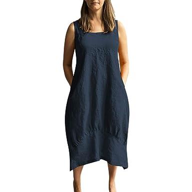 7457caf9bebf Sommerkleider Damen Langes Kleider Große Größen,Frauen Beiläufige Tasche  Oansatz Linie festes Kleid Sleeveless Loses Leinenkleid Saum Baggy Kaftan  ...