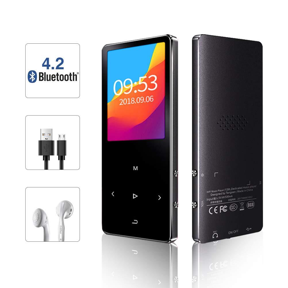 EachMay MP3プレーヤー Bluetooth 4.2付き タッチボタン音楽プレーヤー FMラジオ スピーカー ボイスレコーダー 8G HiFiサウンドサポート 128GB microSDカード (ブラック)   B07L85S889